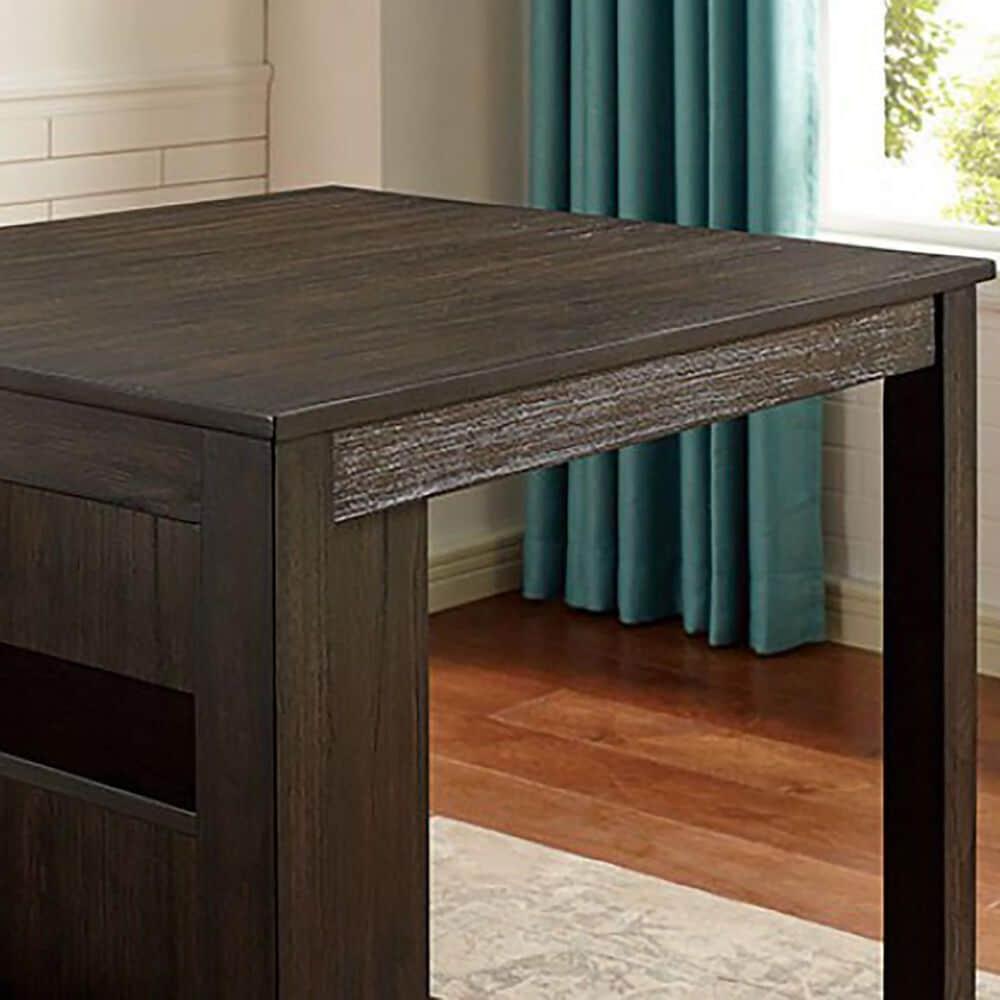 Furniture of America Hamilton 3-Piece Counter Height Dining Set in Brown, , large
