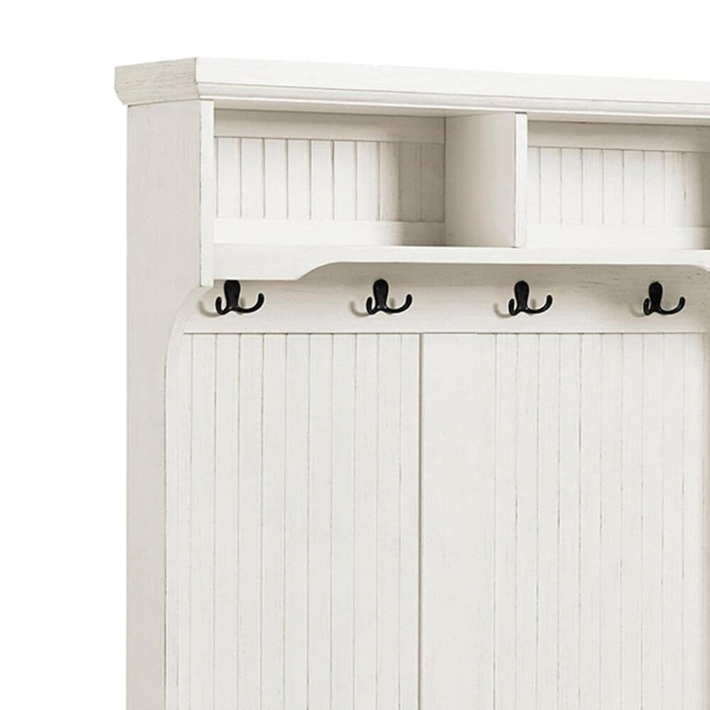 Crosley Furniture Seaside Hall Tree in Distressed White, , large