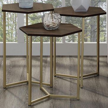 Walker Edison Hex Nesting Tables in Dark Walnut and Gold (Set of 3), , large