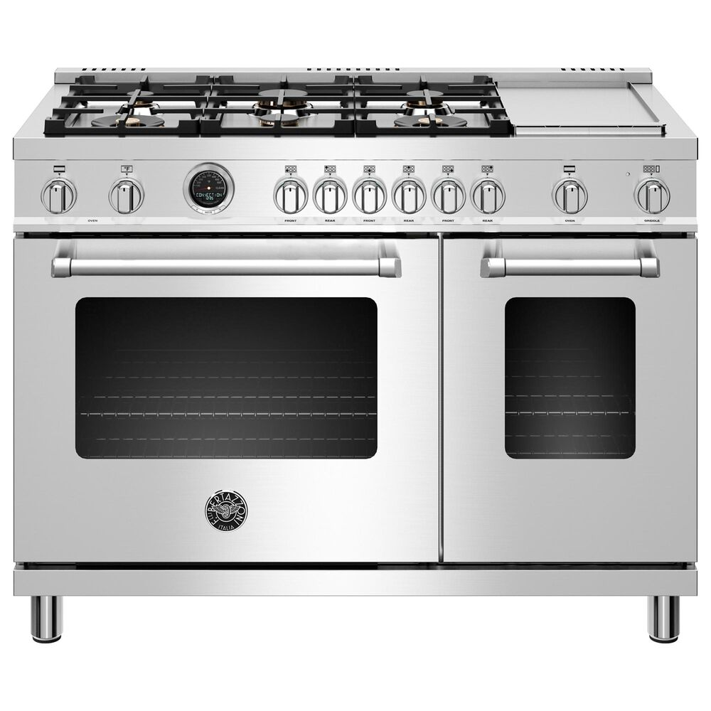 """Bertazzoni Master 48"""" Dual Fuel Range with 6-Burner in Stainless Steel, , large"""