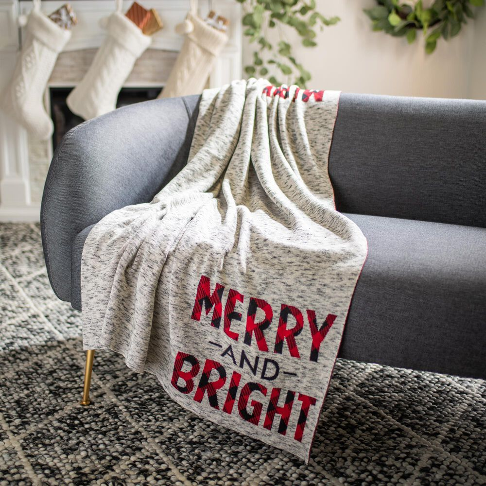 """Safavieh Holiday Merry and Bright 50"""" x 60"""" Throw in Grey and Red, , large"""