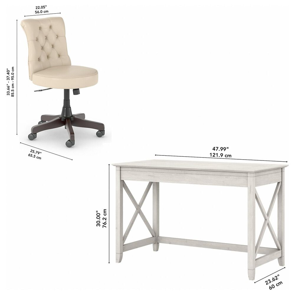 Bush Key West 2 Piece Office Desk Set in Linen White Oak, , large