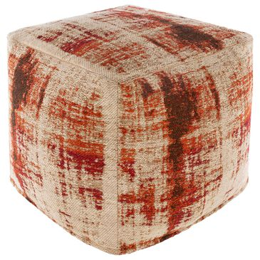 Surya Inc Dalen Pouf in Red/Orange/Khaki, , large
