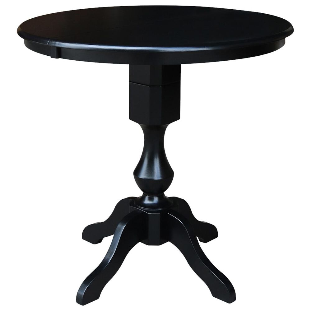 """International Concepts 36"""" Round Counter Height Table with 12"""" Leaf in Black - Table Only, , large"""