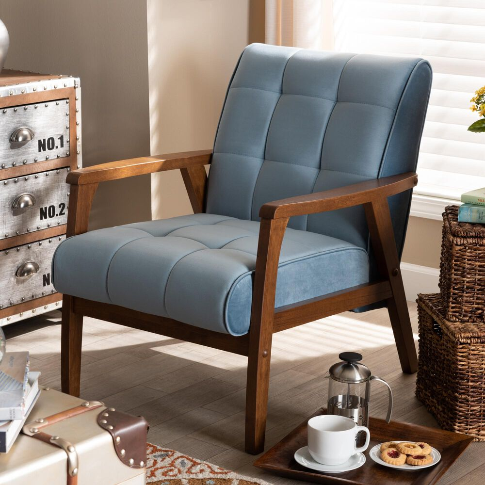 Baxton Studio Asta Arm Chair in Light Blue/Walnut, , large