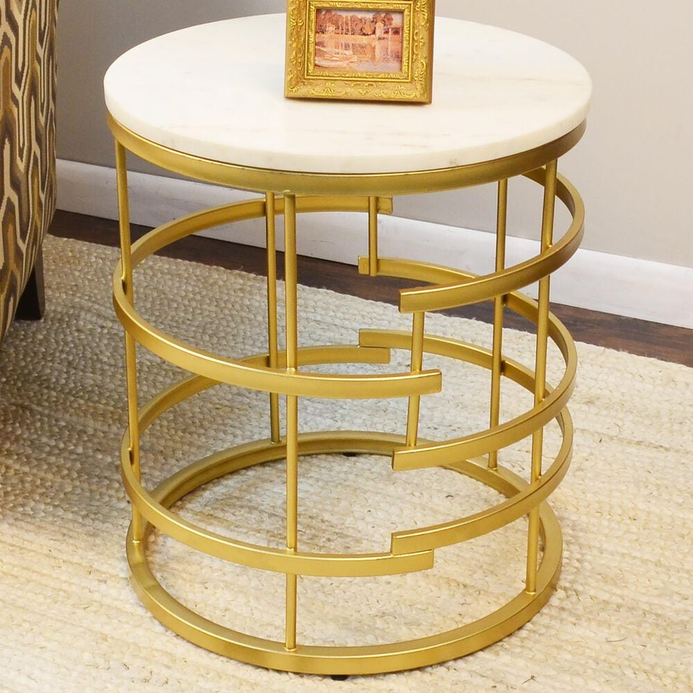 Carolina Chair and Table Hollyn Accent Table in White Marble and Gold, , large