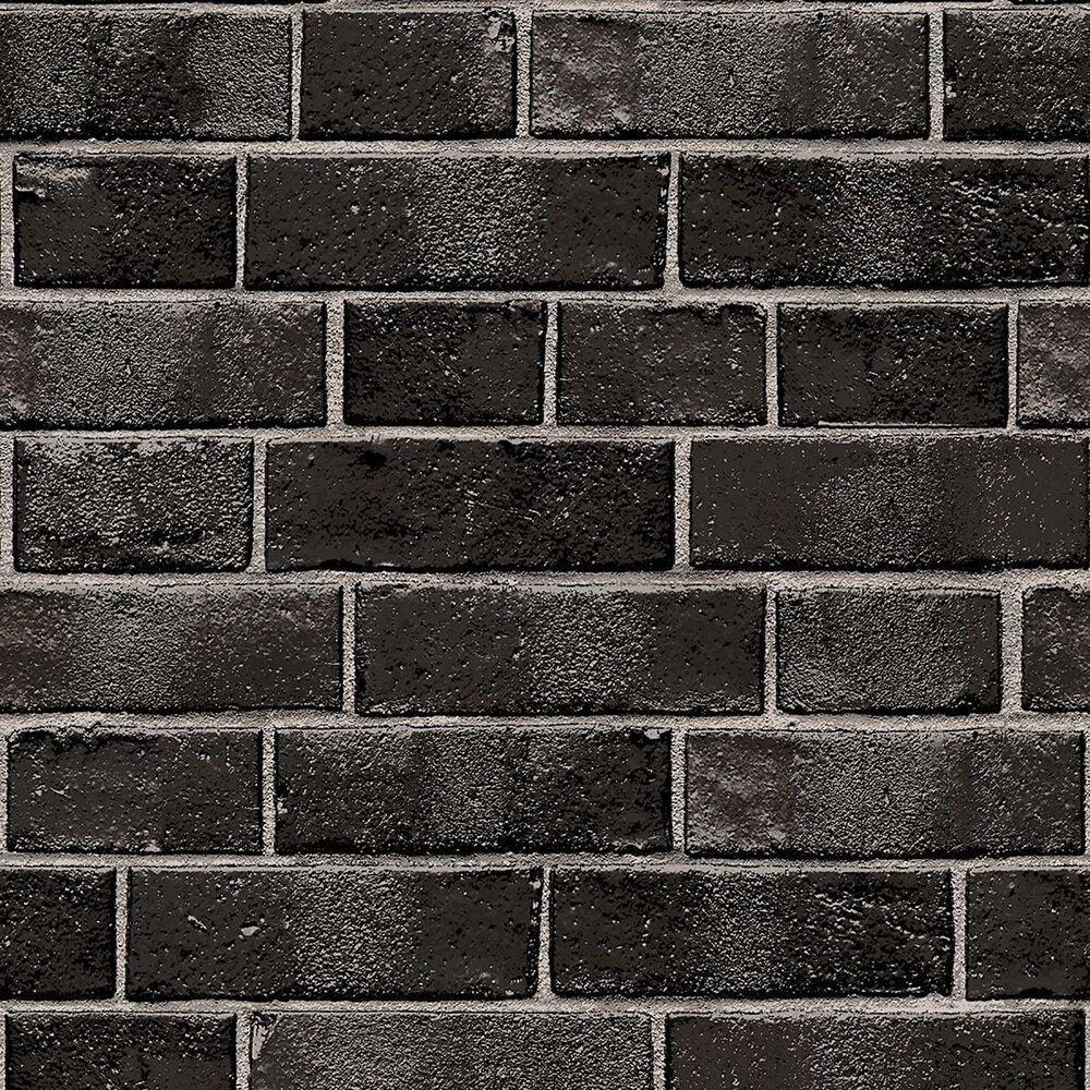 Tempaper Brick Ebony Peel and Stick Wallpaper, , large