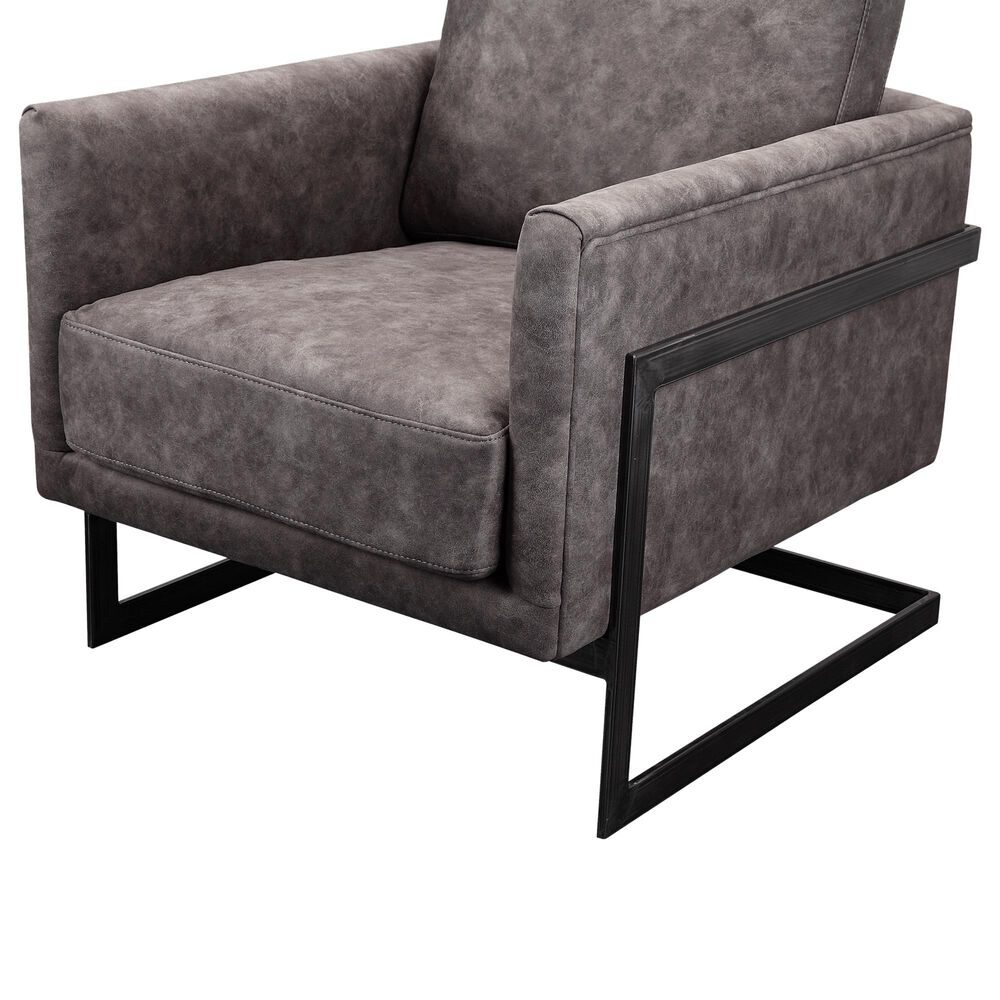Moe's Home Collection Luxley Club Chair in Grey Velvet, , large