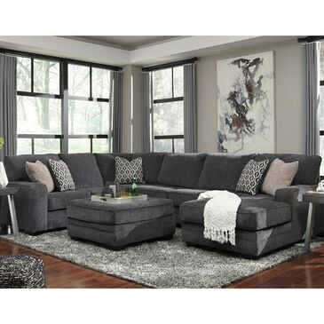 Signature Design by Ashley Tracling 4-Piece Right Facing U-Shaped Sectional and Ottoman in Slate, , large
