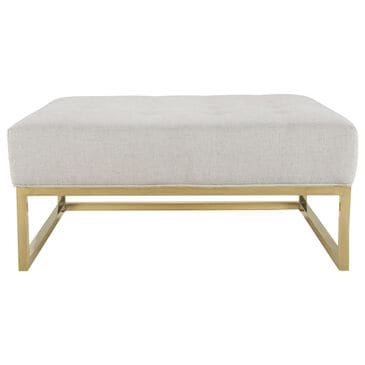 Tov Furniture Nova Metallic Beige Linen Ottoman, , large
