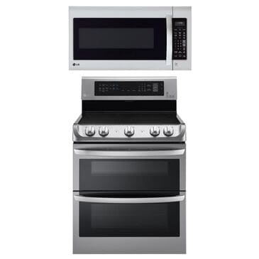 LG 2-Piece Kitchen Package with 7.3 Cu. Ft. Electric Double Oven Range and 2 Cu. Ft. Microwave Oven in Stainless Steel, , large