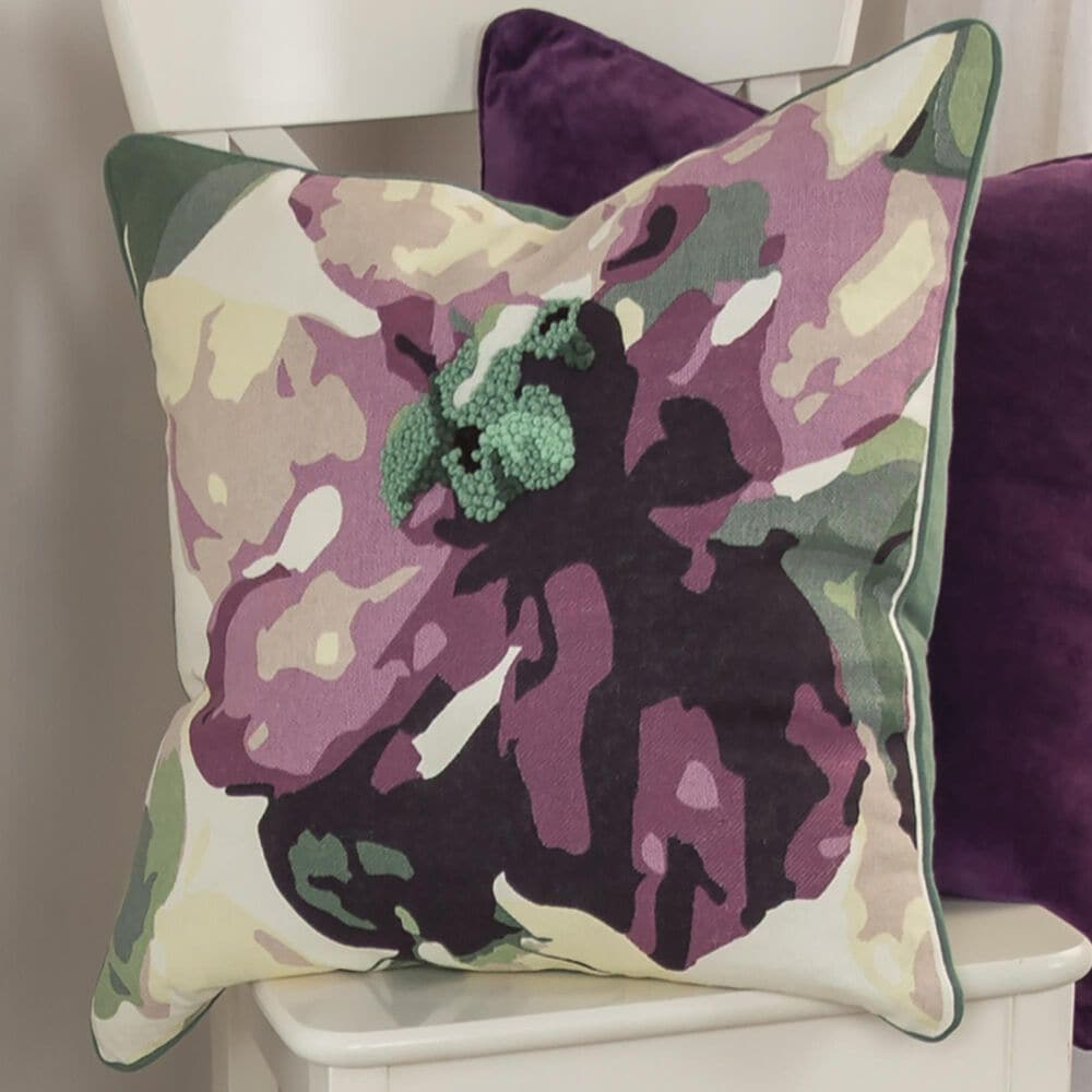 """Rizzy Home Floral 20"""" Pillow Cover in Purple, , large"""