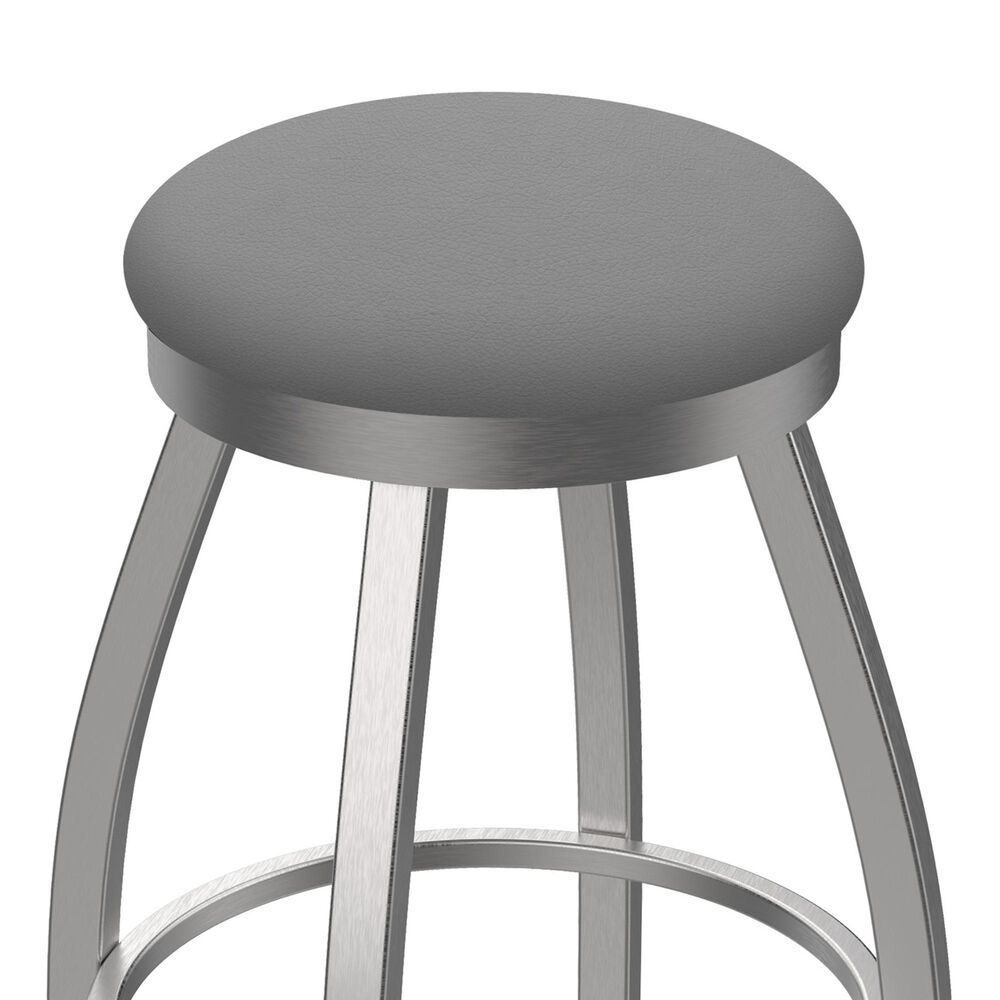 """Holland Bar Stool 802 Misha 25"""" Swivel Counter Stool with Stainless and Canter Folkstone Grey Seat, , large"""