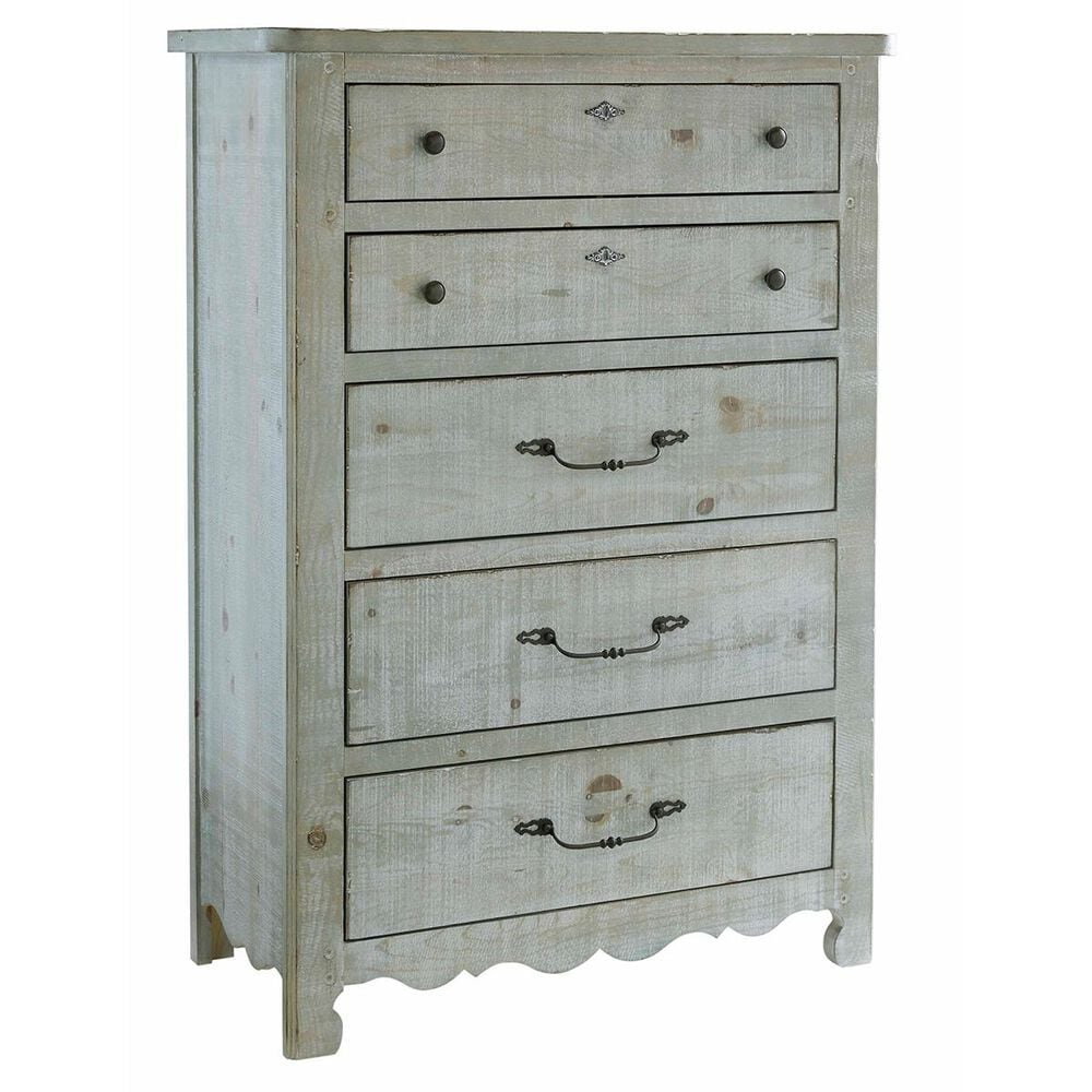Tiddal Home Chatsworth 5 Drawer Chest in Mint Distressed, , large