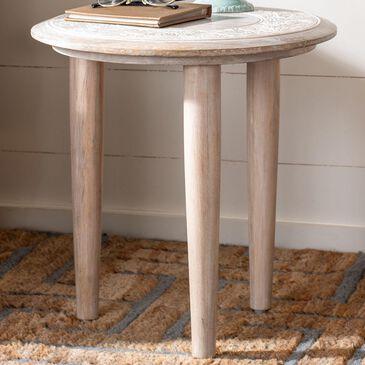 Safavieh Rehnuma Carved Side Table in White Wash, , large