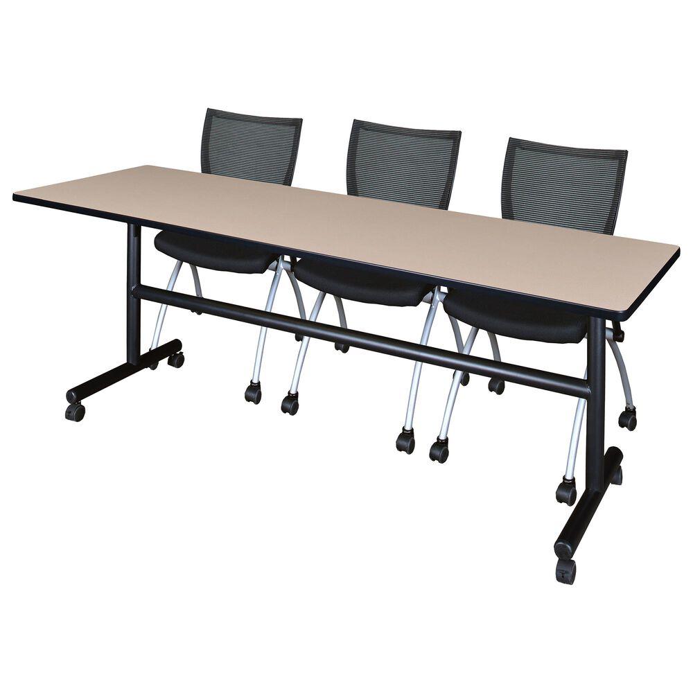 Regency Global Sourcing Kobe 4-Piece Mobile Training Table Set in Beige/ Black, , large