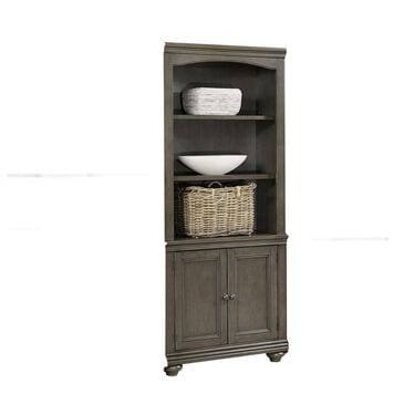 Riva Ridge Oxford 2-Door 3-Shelf Bookcase in Peppercorn, , large