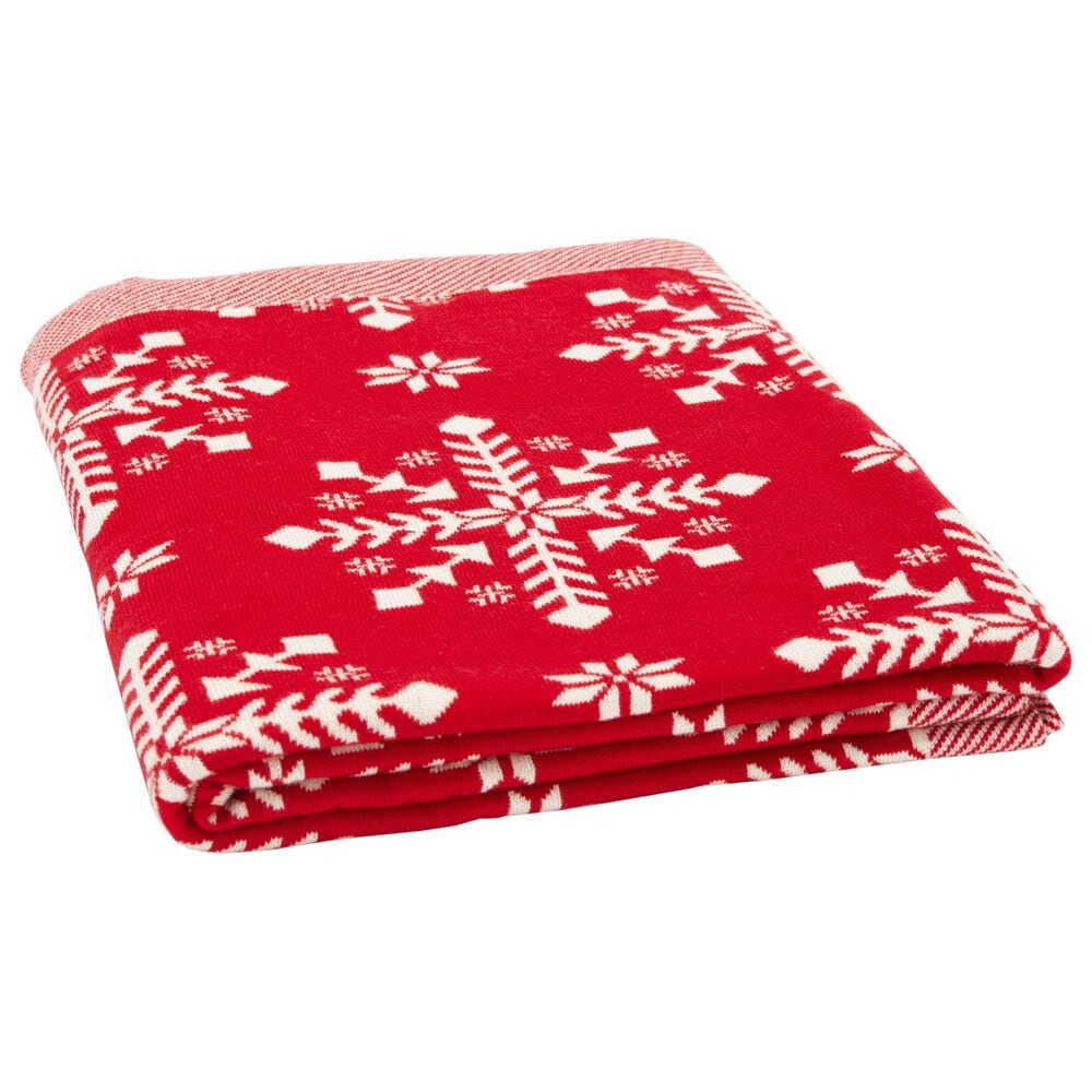 """Safavieh Holiday Frost 50"""" x 60"""" Throw in Red, , large"""
