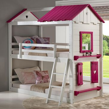 Cambria Designs Sweetheart Twin over Twin Bunkbed in White and Pink, , large