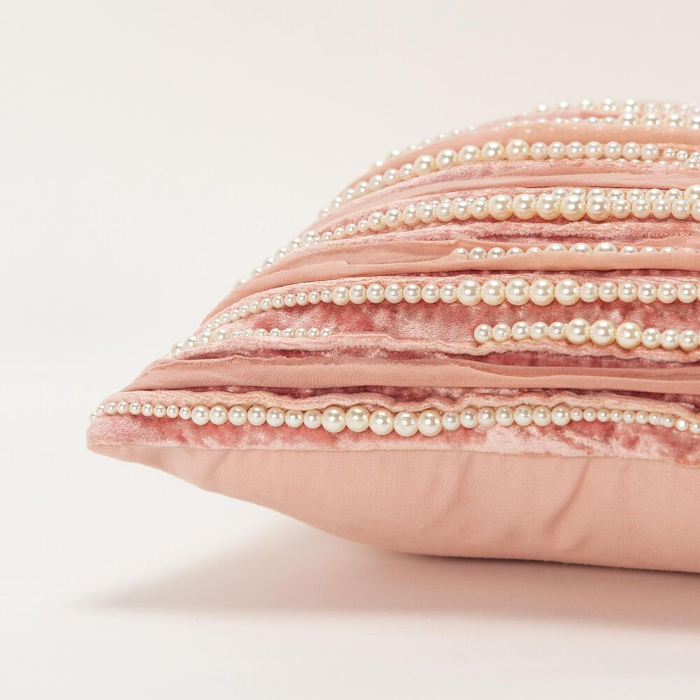 """Rizzy Home Pearl 12"""" Poly Filled Pillow in Blush, , large"""