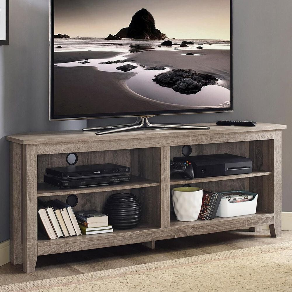 "Walker Edison 58"" Corner TV Stand in Driftwood, , large"