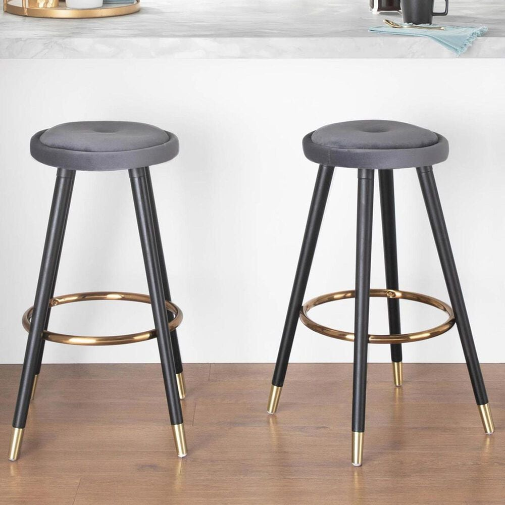 Lumisource Cavalier Counter Stool in Silver/Black/Gold (Set of 2), , large