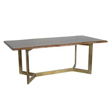 Greenbrier Interiors Kade Dining Table in Mango and Antique Brass - Table Only, , large