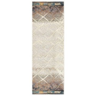 "Loloi Mika MIK-02 2'5"" x 11'2"" Ivory and Mediterranean Runner, , large"