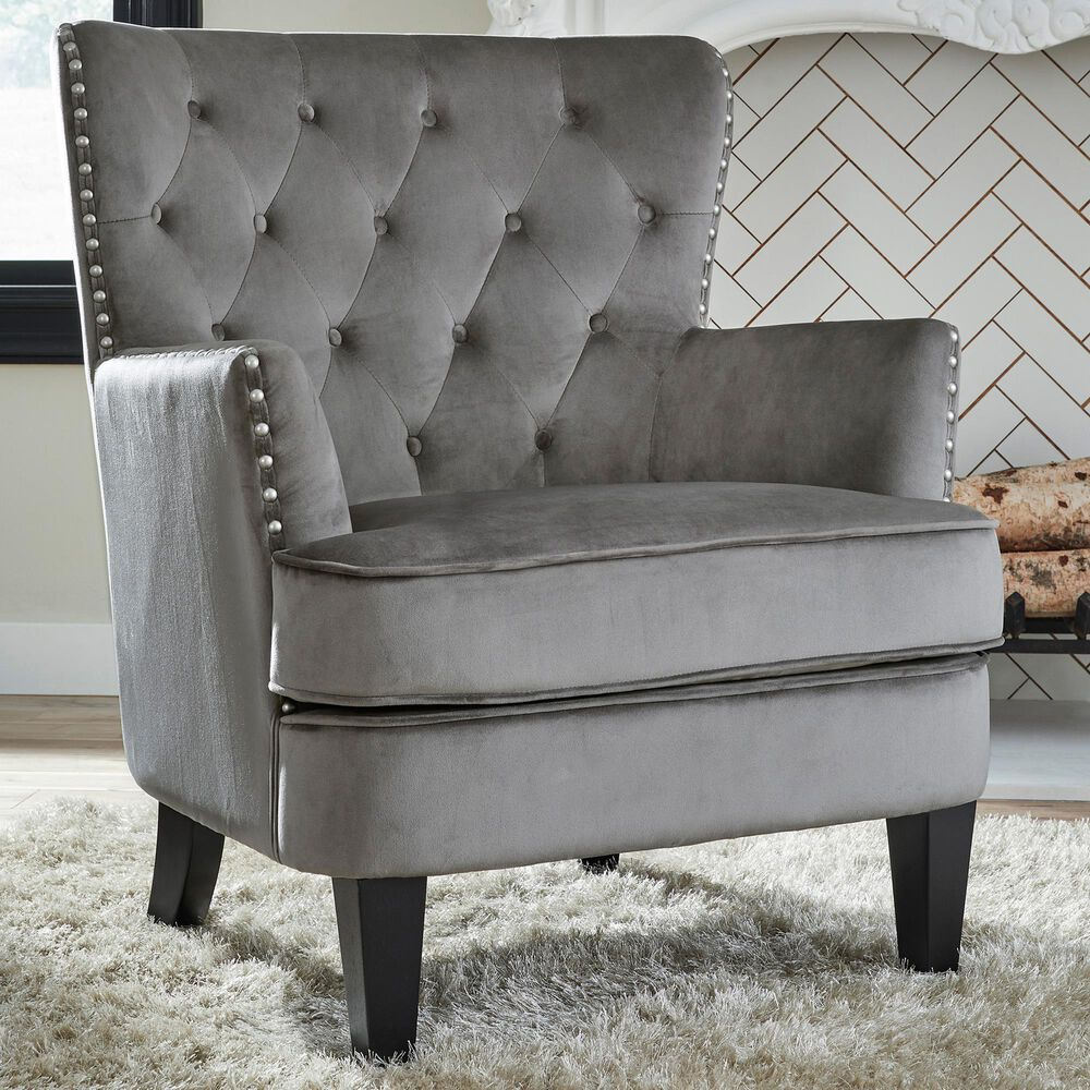 Signature Design by Ashley Romansque Accent Chair in Gray Velvet, , large
