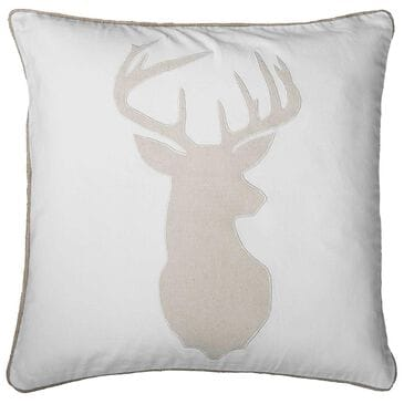 "Rizzy Home 18"" x 18"" Pillow Cover in White with Deer Head, , large"