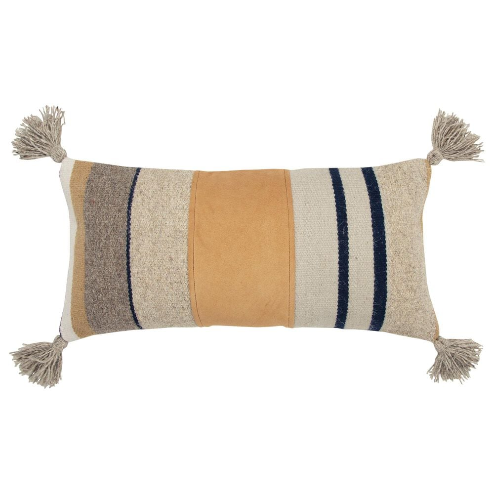 """Rizzy Home Stripe 12"""" x 24"""" Pillow Cover in Natural, , large"""