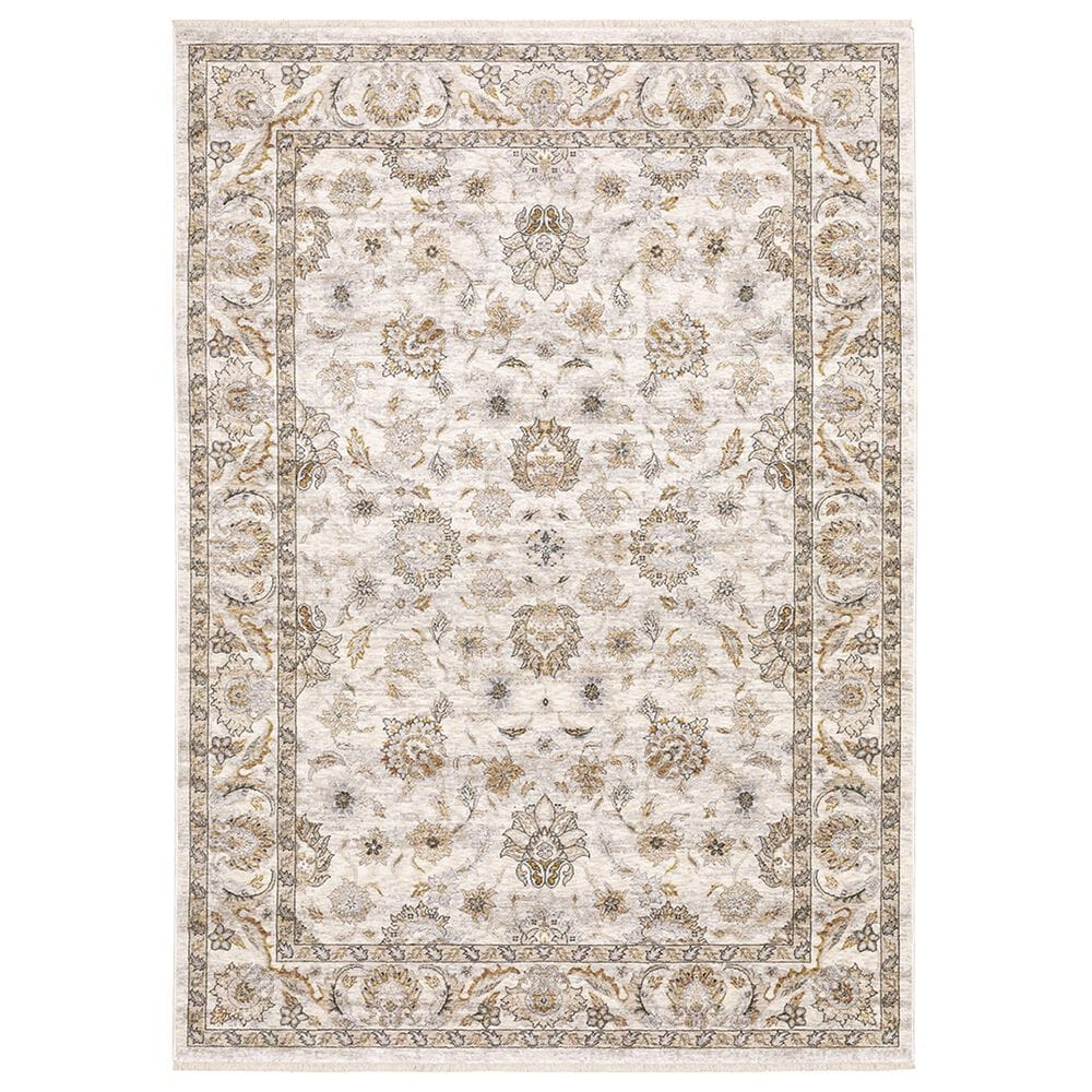 """Oriental Weavers Maharaja Nepal 70W 2""""3"""" x 7""""6"""" Ivory and Grey Scatter Rug, , large"""