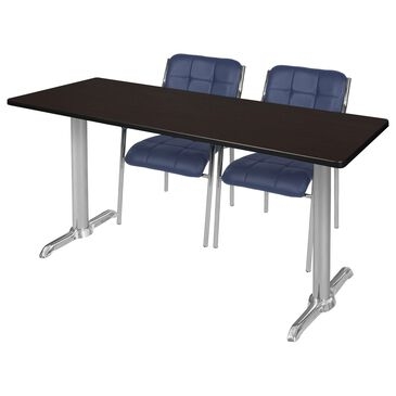 Regency Global Sourcing Via 3-Piece Training Table Set in Mocha Walnut/Navy, , large