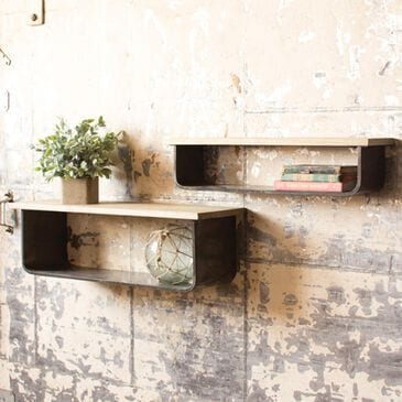 Kalalou Gray Wood Shelves (Set of 2), , large