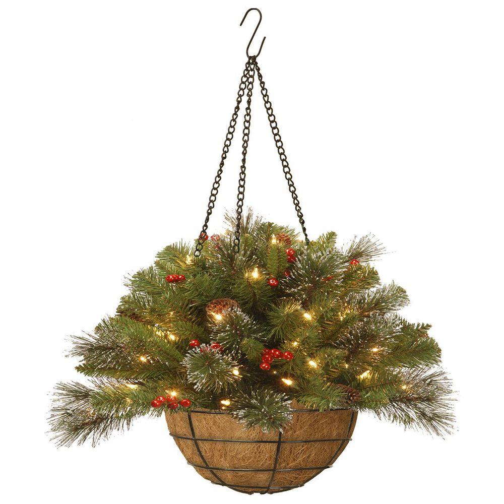 "National Tree 20"" Crestwood Spruce Hanging Basket with Battery Operated Warm White LED Lights, , large"
