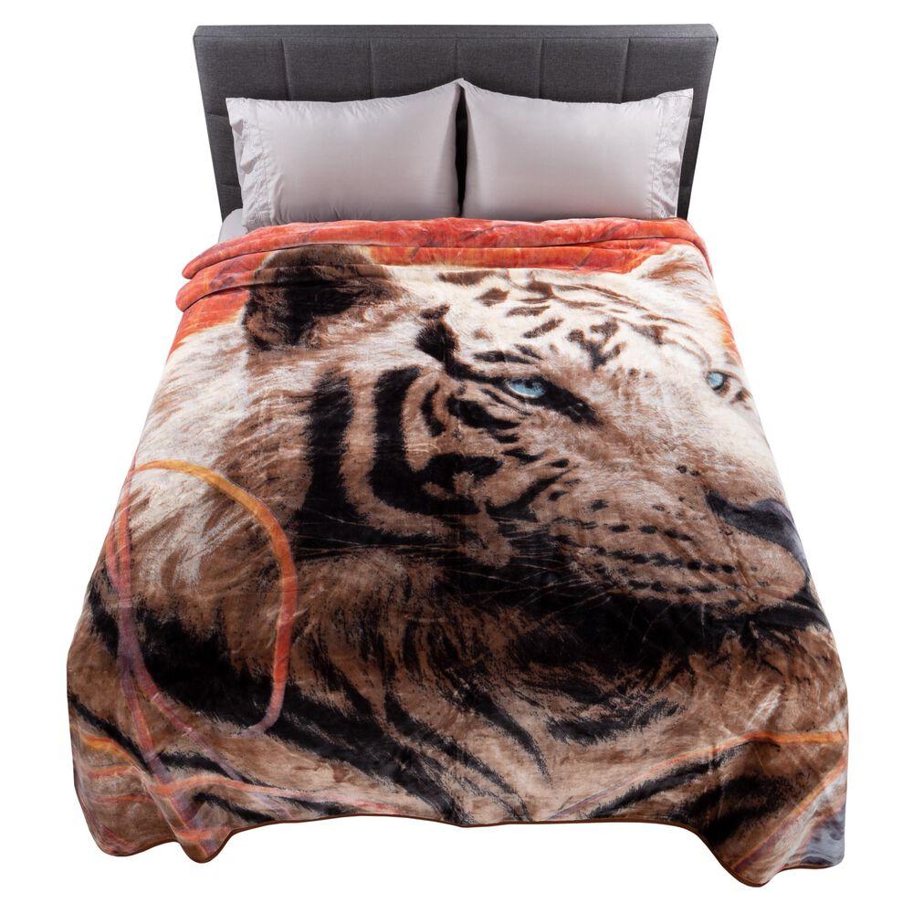 Timberlake Lavish Home Oversized Woven Plush Blanket in White Tiger, , large