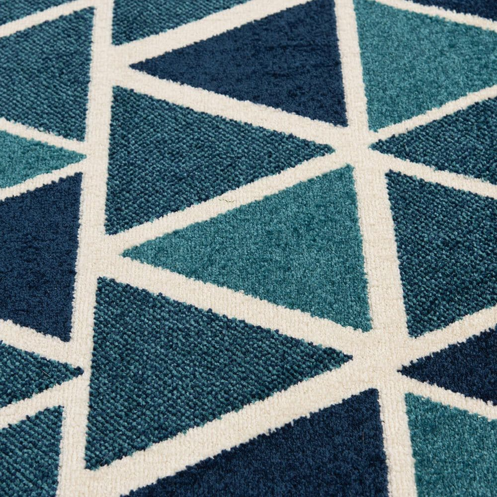"""Central Oriental Terrace Tropic Isocele 2346NQ.085 7'10"""" x 9'10"""" Snow and Turquoise Area Rug, , large"""