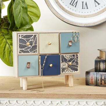 """Maple and Jade 14"""" x 12"""" Eclectic Wood Jewelry Box in Blue, , large"""