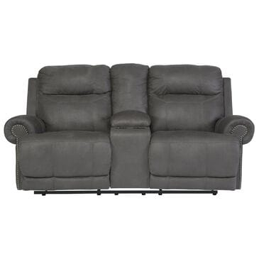 Signature Design by Ashley Austere Reclining Power Loveseat with Console in Gray, , large