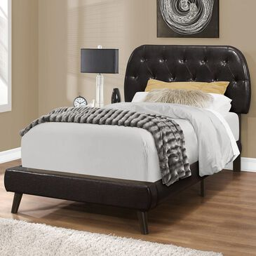 Monarch Specialties Twin Panel Tufted Bed in Brown, , large