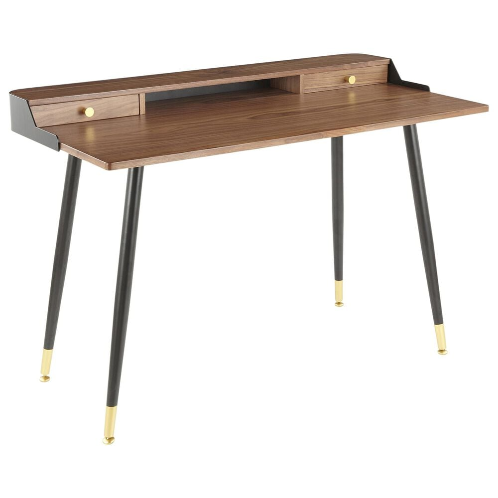 Lumisource Harvey Desk in Walnut/Black/Gold, , large