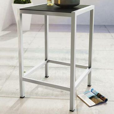 Modway Shore Outdoor Patio Aluminum Bar Table in Silver and Gray, , large