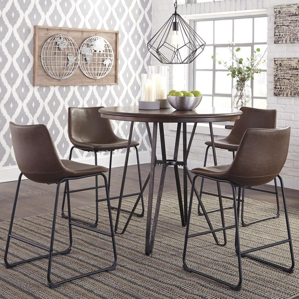 Signature Design by Ashley Centiar 5-Piece Counter Height Dining Set in Two-Tone Brown, , large