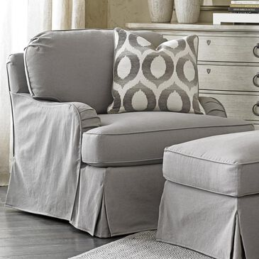 Lexington Furniture Oyster Bay Stowe Slipcover Swivel Chair in Grey, , large