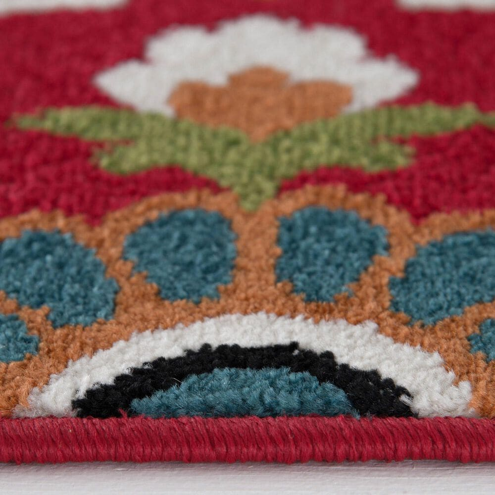 """Central Oriental Terrace Tropic Bluffton 2309ON.084 7'10"""" x 9'10"""" Coral and Snow Area Rug, , large"""