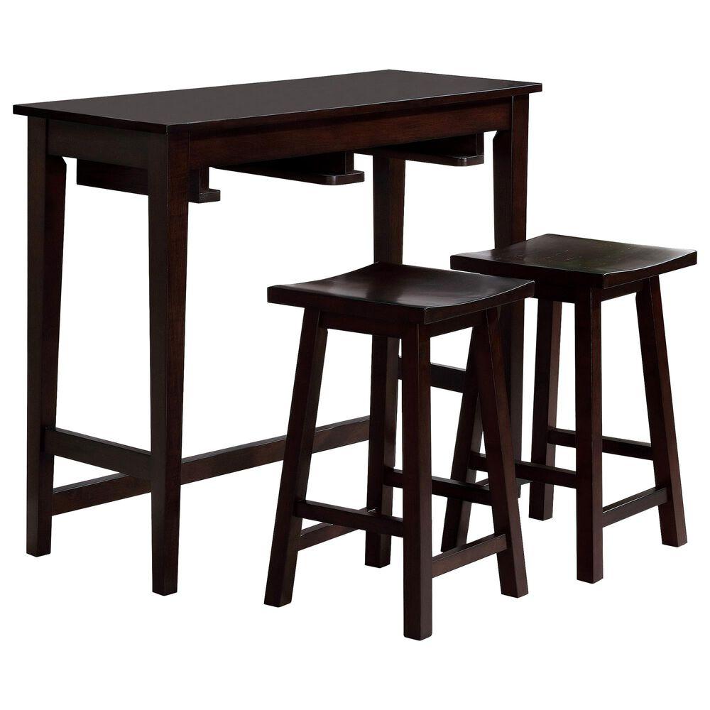 Furniture of America Christensen 3-Piece Bar Table Set in Espresso, , large
