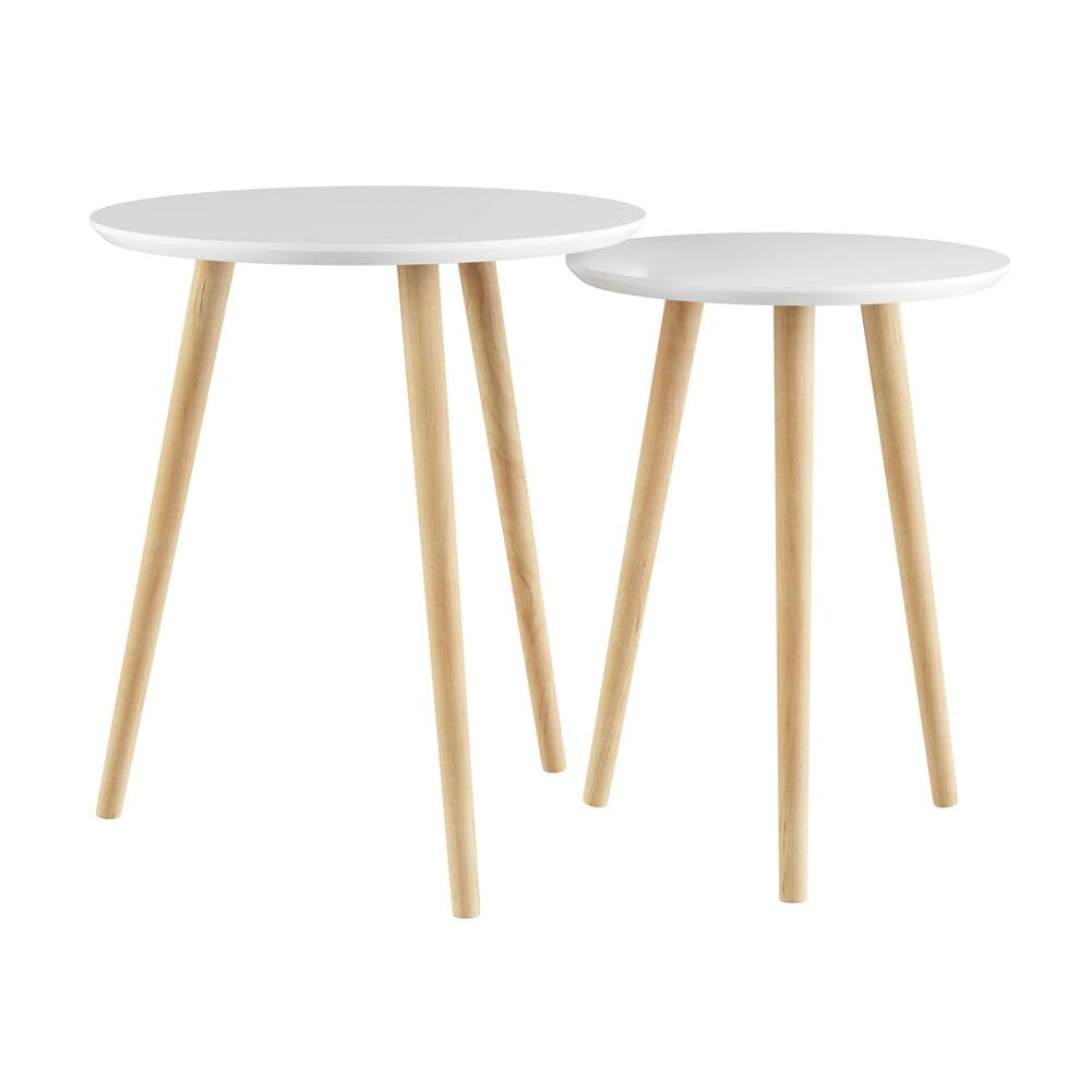 Timberlake Lavish Home 2-Piece Nesting End Tables in White, , large