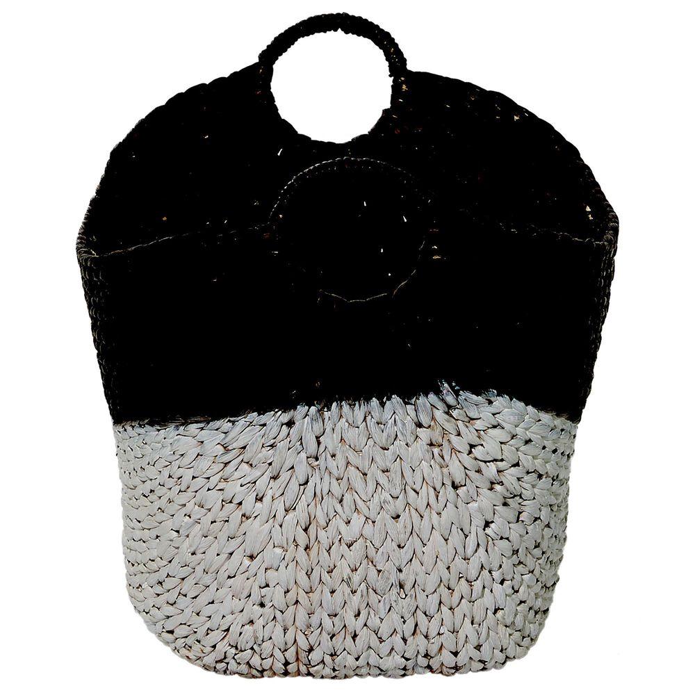 "CosmoLiving by Cosmopolitan 19"" Contemporary Seagrass Storage Basket Black, , large"