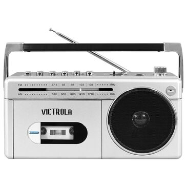 Victrola Mini Bluetooth Boombox with Cassette Player, Recorder and Am/FM Radio in Silver, , large