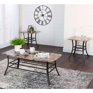 Penny Lane Honey 3-Pack Occasional Table Set in Chocolate Faux Marble and Espresso, , large